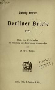 Cover of: Berliner Briefe, 1828