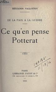 Cover of: Ce qu'en pense Potterat