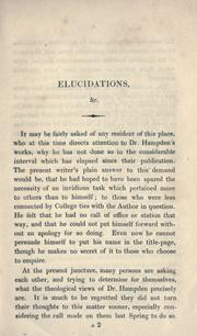 Cover of: Elucidations of Dr. Hampden's theological statements by John Henry Newman