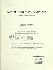 Cover of: Economic conditions in Montana | Montana. Dept. of Community Affairs. Research and Information Systems Division.