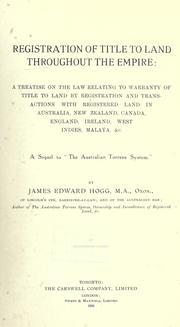 Cover of: Registration of title to land throughout the empire by James Edward Hogg