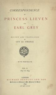 Cover of: Correspondence of Princess Lieven and Earl Grey