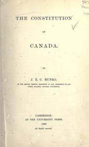 Cover of: constitution of Canada. | J. E. Crawford Munro
