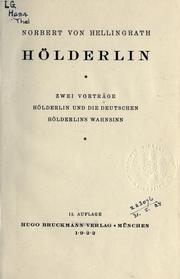 Cover of: Hölderlin