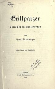 Grillparzer by Hans Sittenberger