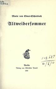 Cover of: Altweibersommer
