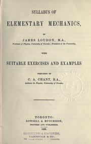 Cover of: Syllabus of elementary mechanics | James Loudon
