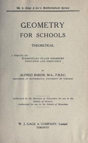Cover of: Geometry for schools | Baker, Alfred