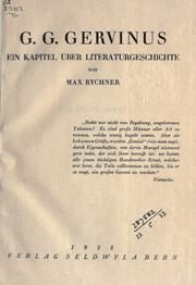 Cover of: G.G. Gervinus