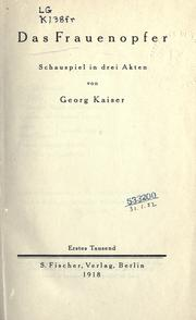 Cover of: Das Frauenopfer