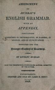 Cover of: Abridgment of Murray's English grammar by Lindley Murray