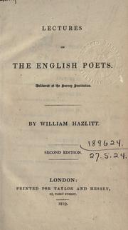 Cover of: Lectures on the English poets delivered at the Surrey Institution