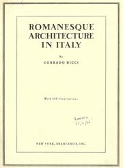 Cover of: Romanesque architecture in Italy
