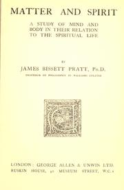 Cover of: Matter and spirit