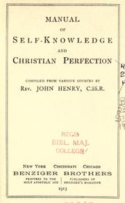 Cover of: Manual of self-knowledge and Christian perfection by John Henry Schagemann