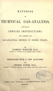 Cover of: Handbook of technical gas-analysis