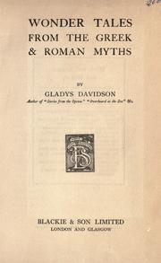 Cover of: Wonder tales from the Greek & Roman myths