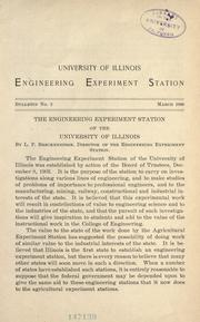 Cover of: The Engineering experiment station of the University of Illinois