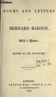 Cover of: Poems and letters, with a memoir | Bernard Barton