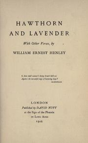 Cover of: Hawthorn and lavender, with other verses