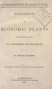 Cover of: Catalogue of economic plants in the collection of the U. S. Department of Agriculture