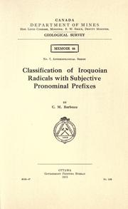 Cover of: Classification of Iroquoian radicals with subjective pronominal prefixes