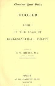 Cover of: Book 1 of the Laws of ecclesiastical polity: Edited by R.W. Church.