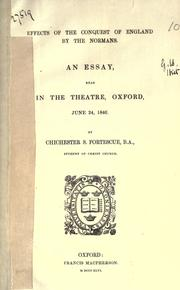 Cover of: Effects of the conquest of England by the Normans