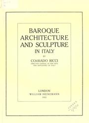 Cover of: Baroque architecture and sculpture in Italy