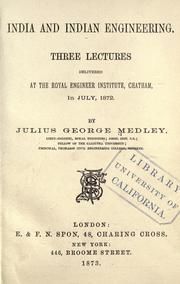 Cover of: India and Indian engineering by Julius George Medley