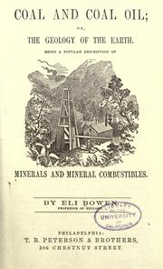 Cover of: Coal or coal oil, or, The geology of the earth