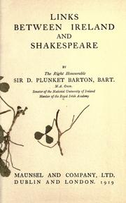 Cover of: Links between Ireland and Shakespeare