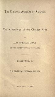Cover of: The mineralogy of the Chicago area