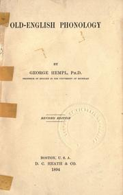 Cover of: Old-English phonology | George Hempl