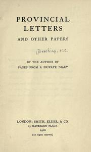 Cover of: Provincial letters | H. C. Beeching