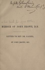 Cover of: Supplementary chapter to the life of Rev. John Brown, D.D