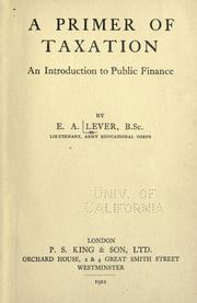 Cover of: A primer of taxation