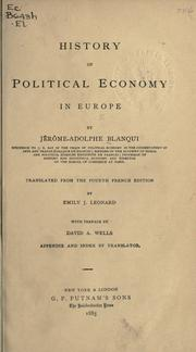 Cover of: History of political economy in Europe