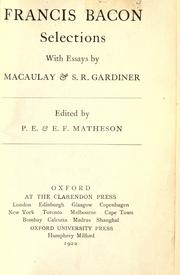 Cover of: Selections: With essays by Macaulay & S.R. Gardiner.