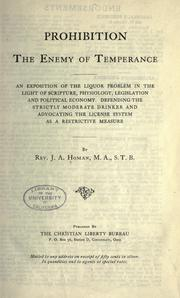 Cover of: Prohibition, the enemy of temperance
