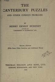 Cover of: The Canterbury puzzles and other curious problems