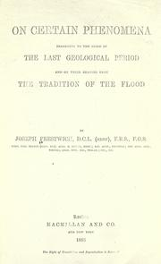 Cover of: On certain phenomena belonging to the close of the last geological period