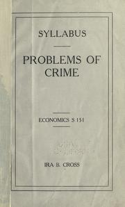Cover of: Problems of crime