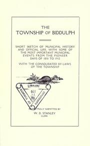 Cover of: The Township of Biddulph