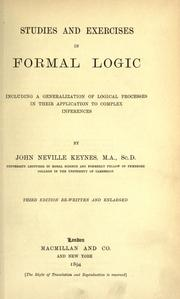 Cover of: Studies and exercises in formal logic