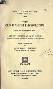 Cover of: The Old English Physiologus |