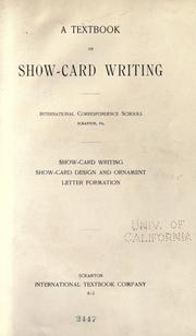 Cover of: A textbook on show-card writing by International Correspondence Schools