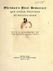 Cover of: Whitman's ideal democracy, and other writings