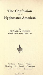 Cover of: The confession of a hyphenated American