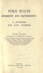 Cover of: Public health, chemistry and bacteriology